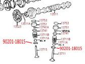 Toyota 2.4L 2RZ-FE, 2.7L 3RZ-FE 2TZ-FE, 3.0L 3VZ-FE (1991-2004) OEM Valve Spring Seat Washer  90201-18015