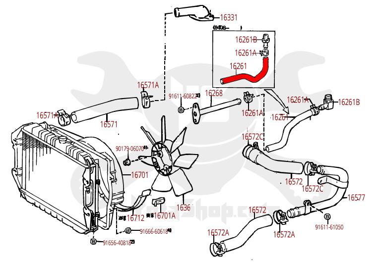 Coolant Hose- Toyota 2.4L 22R 4Runner & Pickup Truck