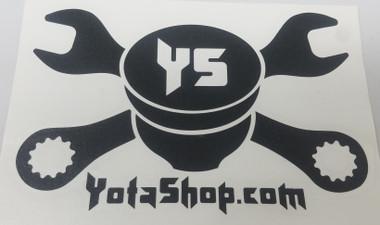 """Transfer Sticker- YotaShop Black Piston w/Wrenches 8""""x5"""""""