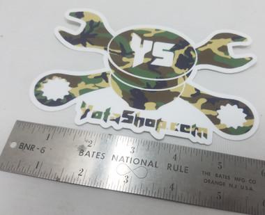 "Camo Sticker- YotaShop Camouflage Piston w/Wrenches 6""x 4"" Sticker"