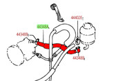 Steering Line- Toyota 22R, 22RE Power Steering Reservoir to Pump Line 44348-35101
