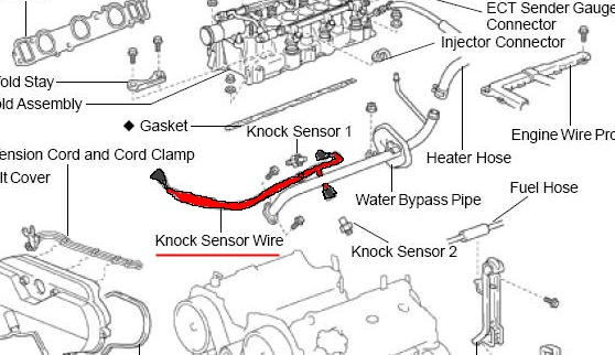 first gen v6 tacoma owners where are both knock sensors located rh tacomaworld com 2003 Toyota Tacoma Wiring Diagram 2002 Toyota Tacoma Engine Diagram