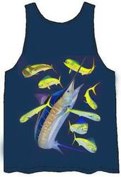 Guy Harvey Marlin Dorado Back-Print Men's Tank Top in Navy