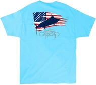 Guy Harvey Patriot Men's Back-Print Tee, w/Pocket, in Pool Blue, Navy Blue or White