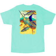 Guy Harvey Zig Zag Men's Back-Print Tee, w/Pocket, in Mint or White