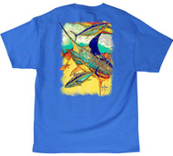 Guy Harvey Zig Zag Men's Back-Print Tee, w/Pocket, in Ocean Blue, Mint or White