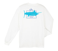Guy Harvey GH Logo Back-Print Men's Long Sleeve Tee, w/Pocket, in White