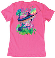 Guy Harvey Wraptured Marlin Women's Classic Crew Back-Print Tee with Front Signature in Mint or Hot Pink