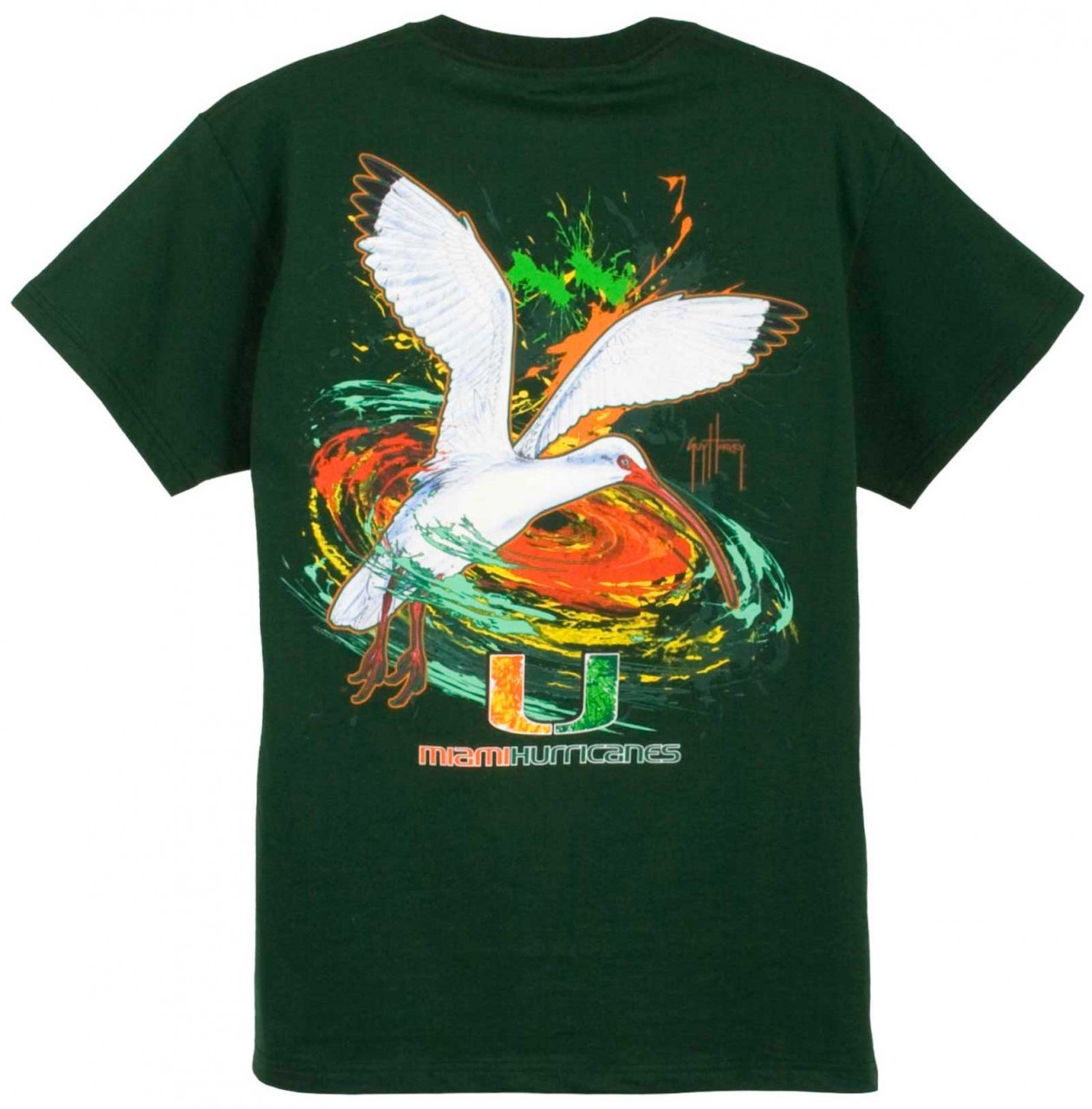 Guy Harvey Miami Hurricanes Short Sleeve Back Print T Shirt