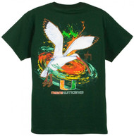 Guy Harvey University of Miami Hurricanes Back-Print Pocketless Men's Tee in Green or White