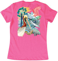 Guy Harvey Gulf Mammals Women's Classic Crew Back-Print Tee with Front Signature in Mint or Hot Pink