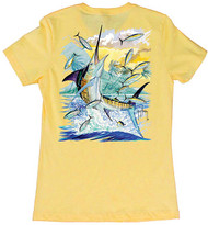 Guy Harvey Island Marlin Women's Classic Crew Back-Print Tee with Front Signature in Banana