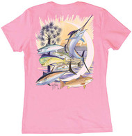 Guy Harvey Palmetto Moon Women's Classic Crew Back-Print Tee with Front Signature in Lite Pink or Mint