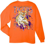 Guy Harvey Clemson University Tigers Back-Print Pocketless Men's Long Sleeve Tee in Orange