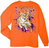 Guy Harvey Clemson University Tigers Back-Print Pocketless Men's Long Sleeve Tee in Orange