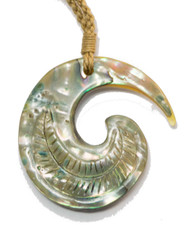 Engraved Abalone Swirl and Cord Necklace