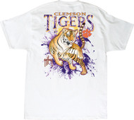 Guy Harvey Clemson University Tigers Back-Print Pocketless Men's Tee in Purple, Orange or White