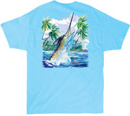 Guy Harvey Island Competition Men's Back-Print Tee, w/Pocket, in Pool Blue or White