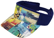 Guy Harvey Patchwork Cotton Twill Visor in Navy