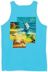 Guy Harvey Tropical Star Back-Print Men's Tank Top in Pacific Blue or Squash