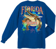 Guy Harvey University of Florida Gators Back-Print Pocketless Long sleeve Men's Tee in Royal Blue, Athletic Heather or Orange