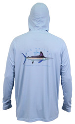 Guy Harvey  Clipper Performance Hooded Long Sleeve Shirt in Coral, Mint or Sky Blue