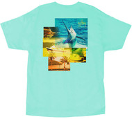 Guy Harvey Tropical Star Men's Back-Print Tee, w/Pocket, in Yellow, Charcoal Heather and Mint