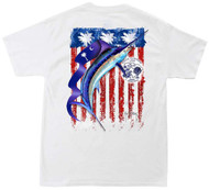 Guy Harvey Palmetto Flag Men's Back-Print Tee, w/Pocket, in Yellow, White or Mint