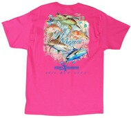 Guy Harvey Gulf Coast Men's Back-Print Tee, w/Pocket, in White, Mint or Hot Pink