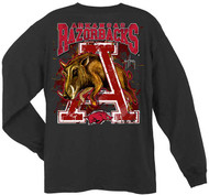 Guy Harvey University of Arkansas Razorbacks Back-Print Pocketless Men's Long sleeve Tee in Black