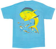 Guy Harvey Bull Dolphin Mens Back-Print Pocketless Tee w/ Front Signature in Orange or Aqua Blue