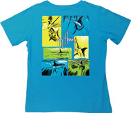 Guy Harvey Life of a Sword Back-Print V-Neck Ladies Tee with Front Signature in Key Lime or Turquoise