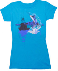 Guy Harvey Twilight Trophy Front-Print Junior Ladies Tee in Turquoise