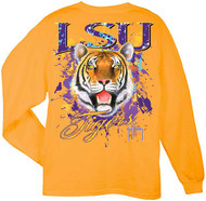 Guy Harvey LSU Tigers Back-Print Pocketless Long sleeve Men's Tee in Gold