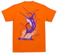 Guy Harvey Swordfish Strike Men's Back-Print Tee in White & Purple on an Orange Tee