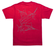 "Guy Harvey Brushstroke Slam Men's Back-Print Tee in Gray on a ""Roll"" Red Tee"