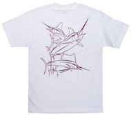 Guy Harvey Brushstroke Slam Men's Back-Print Tee in Garnet on a White Tee