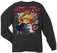 Guy Harvey University of South Carolina Gamecocks Back-Print Pocketless Long sleeve Men's Tee in Black