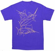 Guy Harvey Brushstroke Slam Men's Back-Print Tee in Gold on a Purple Tee