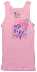 Guy Harvey Dolphin Brushstroke Junior Ladies Front-Print Tank Top in Blue or Pink