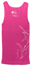 Guy Harvey Marlin Splash Junior Ladies Front-Print Tank Top in Dark Pink