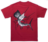 Guy Harvey Sailfish Dash Men's Back-Print Pocketless Tee in White & Black on a Red Shirt