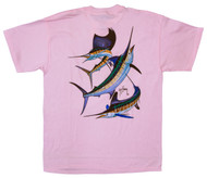 Guy Harvey Grand Slam Ladies Back-Print Tee with Front Signature in Pink