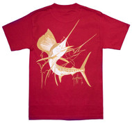Guy Harvey Sailfish Dash Men's Back-Print Pocketless Tee in White & Gold on a Red Shirt