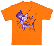 Guy Harvey Sailfish Dash Men's Back-Print Pocketless Tee in White & Purple on an Orange Shirt