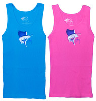 Guy Harvey Sailfish Shadow Junior Ladies Front-Print Tank Top in Turquoise or Dark Pink