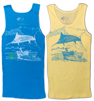 Guy Harvey  Marlin Go-Over Junior Ladies Front-Print Tank Top in Turquoise or Yellow