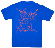 Guy Harvey Brushstroke Slam Men's Back-Print Tee in Orange on a Royal Blue Tee