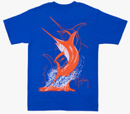 Guy Harvey Swordfish Strike Men's Back-Print Tee in White & Orange on a Royal Blue Tee