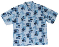 Guy Harvey Vintage Lighthouse - Woven, Aloha-Style Shirt in Blue